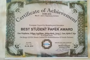 Best Student Paper Award and Special Award at ECMS'16