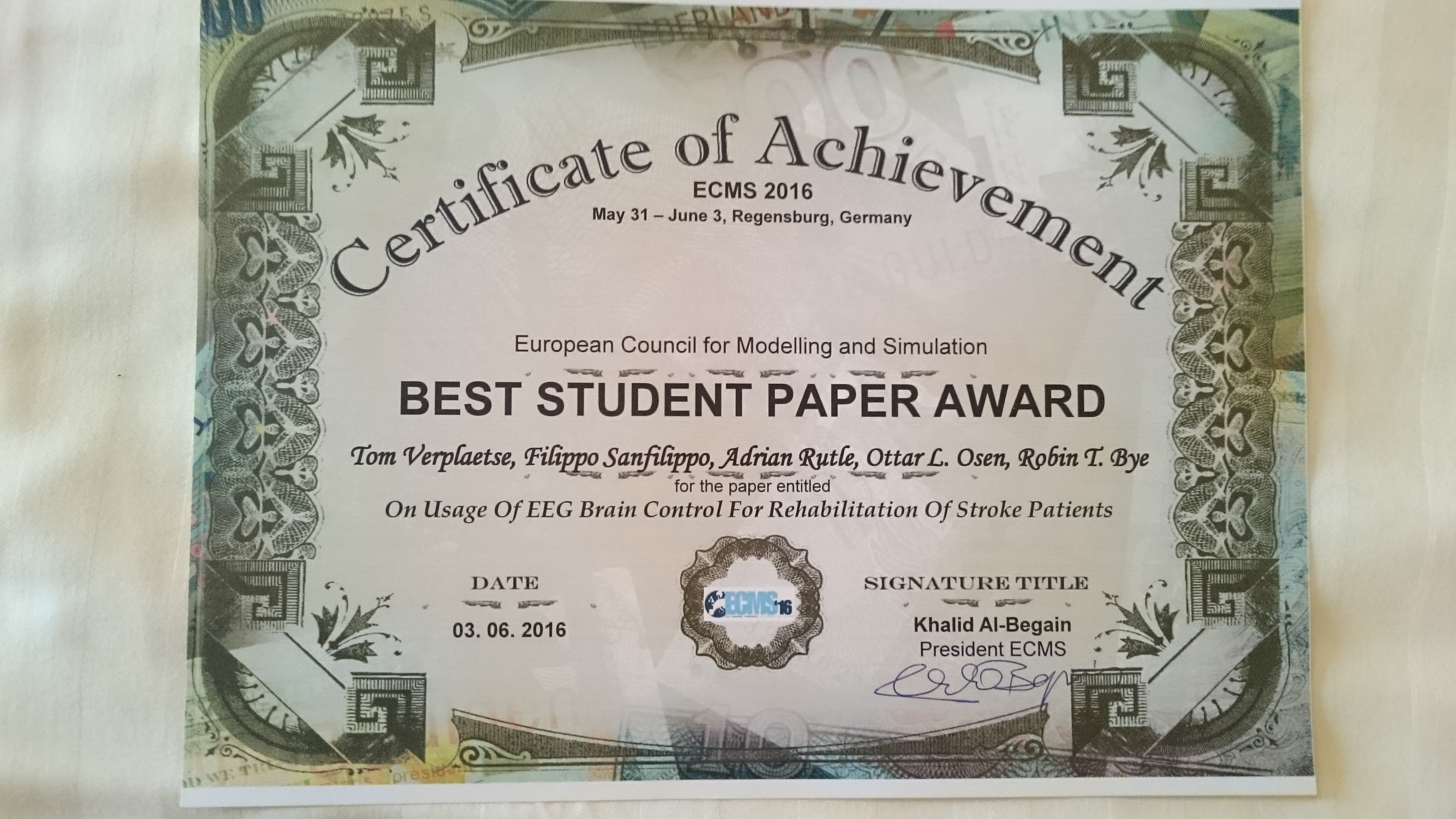 best student paper award and special award at ecms 16 cps lab ntnu