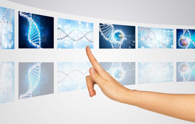 Illustrasjon av hånd som peker på gener