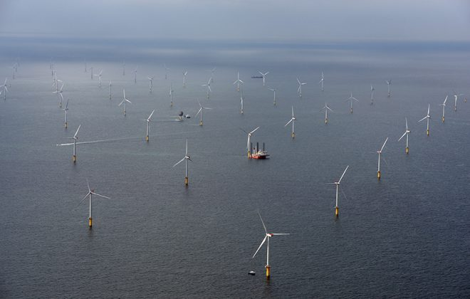 Sheringham Shoal Offshore Wind Farm . Photo taken from air.