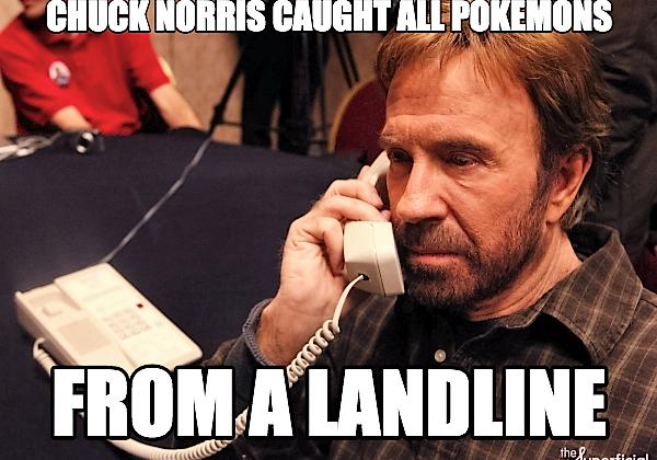 Chuck Norrsi fanger Pokemons med fasttelefonen
