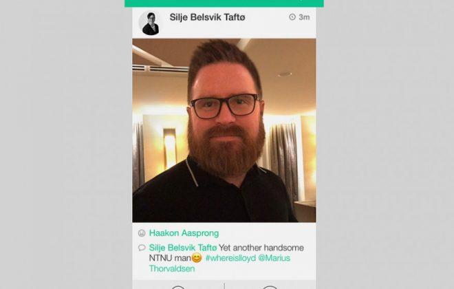Foto av Marius Thorvaldsen publisert i Blackboard med kommentarer fra andre brukere