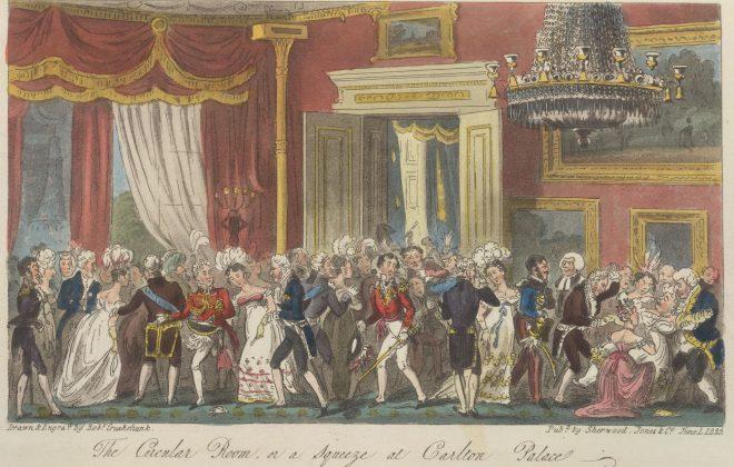 Illustrasjon fra 1700-tallets England, mange mennesker på ball.