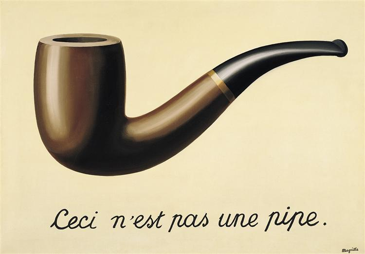 Painting of a pipe by Magritte