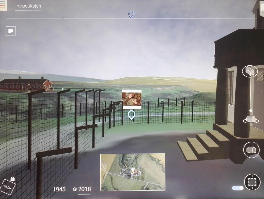 Rekonstruert landskap på Falstadsentret som det vises i en app.