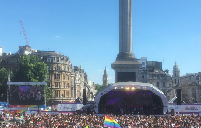 Pink Singers and Rainbow Voices Mumbai performing on the main stage in Trafalgar Square, London Pride, 2017