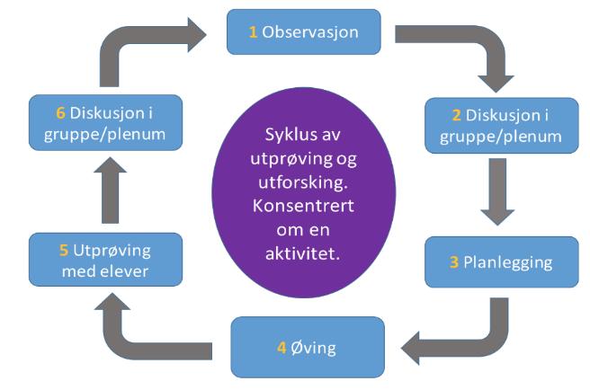 Figur som visualiserer syklusen som er beskrevet i punktlisten under bildet. Illustrasjon