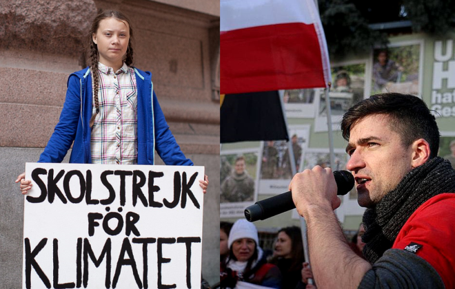 Photo of activists Greta Thunberg and Martin Sellner.