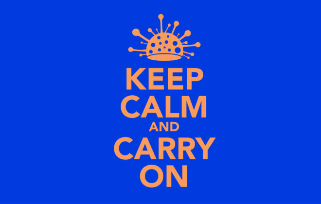 Illustrasjon med teksten: Keep calm and carry on.