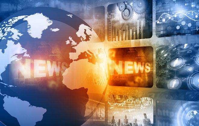 """Grafikk som viser jordklode og tittelen """"news"""". Illustrasjon."""