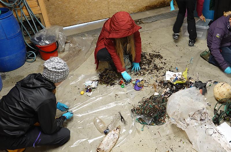 Elever sorterer marint avfall. Foto