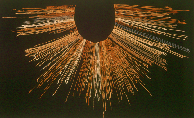 Quipu are recording devices fashioned from strings historically used by a number of cultures in the region of Andean South America. This is an example of a quipu from the Inca Empire, currently in the Larco Museum Collection. Photo: Wikimedia Commons