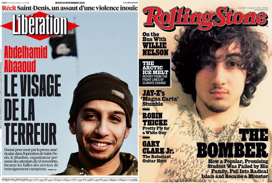 Eksempler på medienes fremstilling av terroristansikter.
