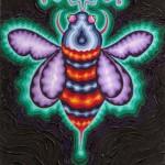 Logo for Arne Krokans honning, designet av den amerikanske multikunstneren Howard Rheingold. Bienes selvorganisering ligner på det som skjer i digitale samfunn.
