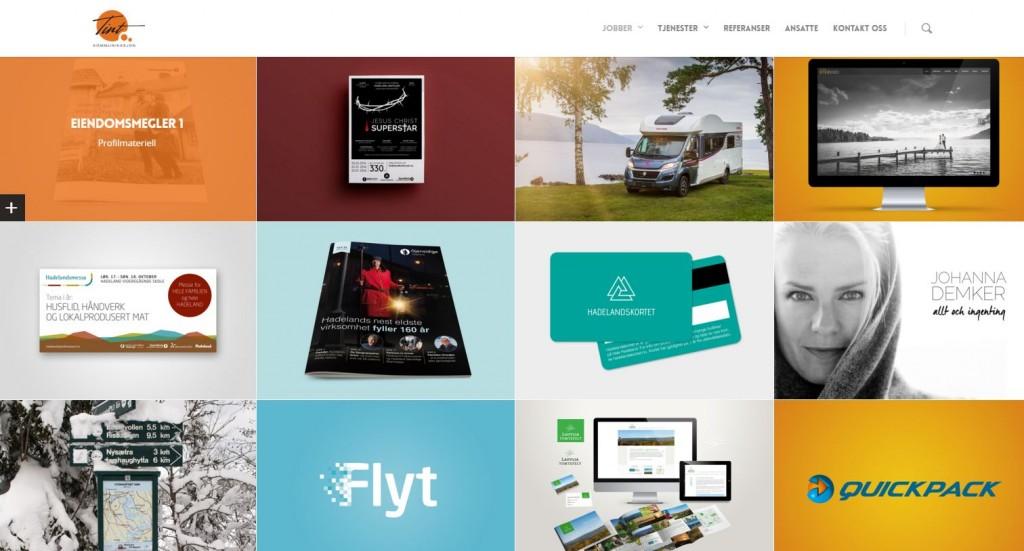 Tint Kommunikasjon presenterer noen av sine grafiske designoppdrag på hjemmesiden.