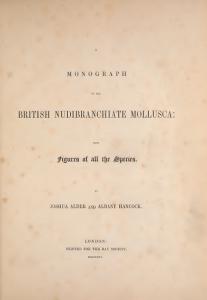 Førstesiden til monografien Alder og Hancock ga ut om britiske nakensnegler.