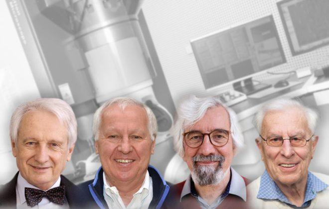 Collage av prisvinnerne med TEM-laben i bakgrunnen. Foto