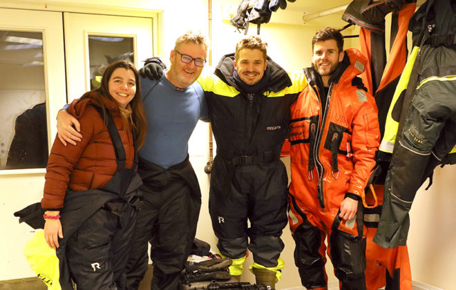 Natalie Summers and the research team in front of the ROV. Photo