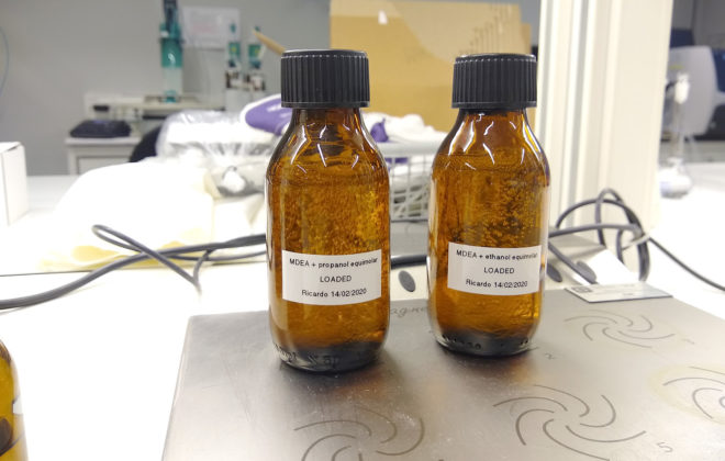 Two loaded bottles with amines in the lab. Photo