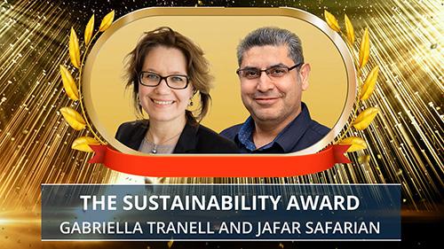 Gabriella Tranell and Jafar Safarian award presentation. Photo