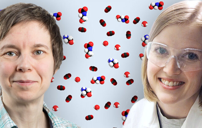 Hanna Knuutila and Vanja Buvik with an illustration of a mixture of water, amine and CO2 in the background. Photo