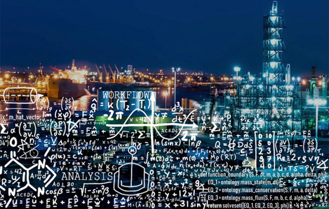Skiline of a city with many formulas written on it. Collage