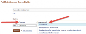 Skjermdump fra PubMed velge tidsskrifter