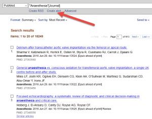 Skjermdump fra PubMed create alert