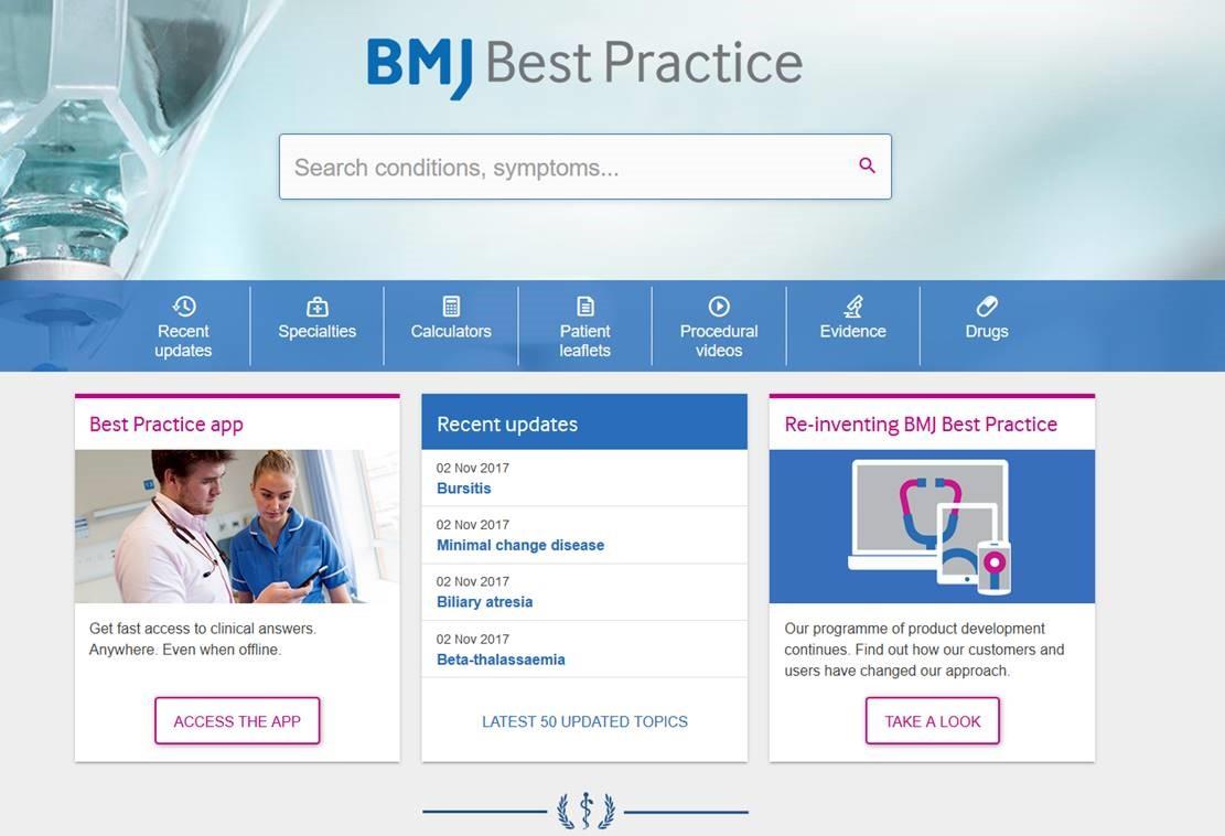 Skjermdump BMJ Best practice nytt grensesnitt 2017