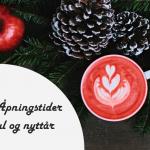 Bildecollage med julemotiv og åpningstider