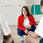 Coach and students inside sports facilities illustration photo.