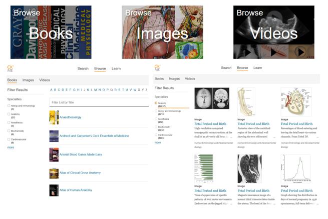 Skjermdump som viser startside på Clinical Key Medical Education, med blant annet muligheter til å bla i bøker, bildearkiv og videoarkiv.