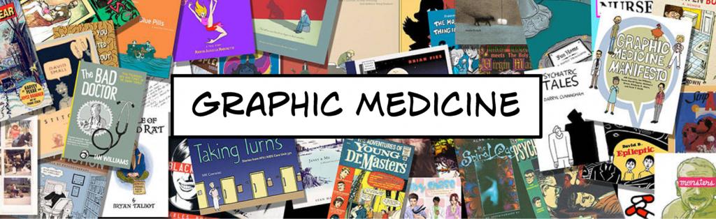 Skjermdump av bloggen Graphic Medicine somviser collage av uliketegneserier