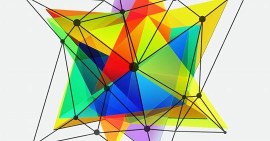 Grafisk illustrasjon med noder og felt i ulike farger