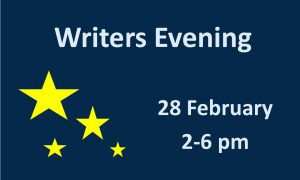 Illustration with stars on a dark blue background and the title and time for the Writers Evening