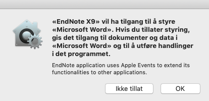 You must click OK when you get a questions about allowing EndNote to do changes in Word.