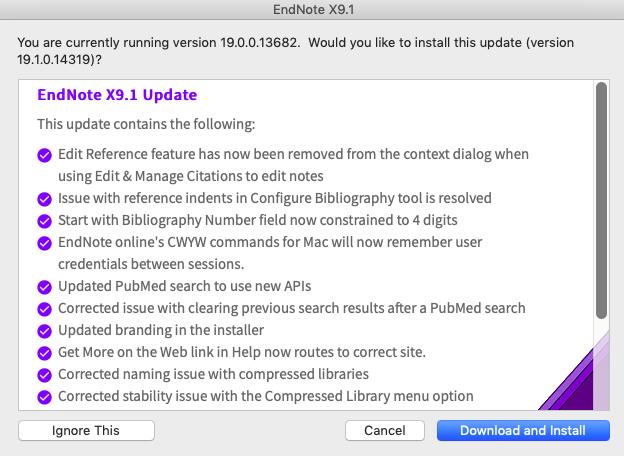 Liste over endringer i oppdateringen X9.1