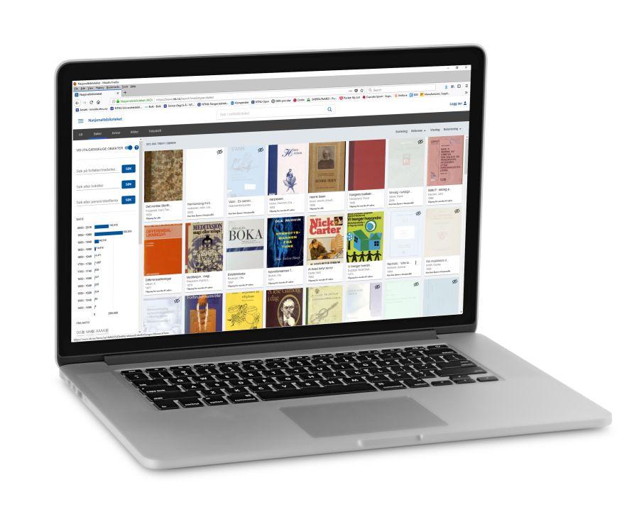 Laptop som viser startsida på bokhylla.no