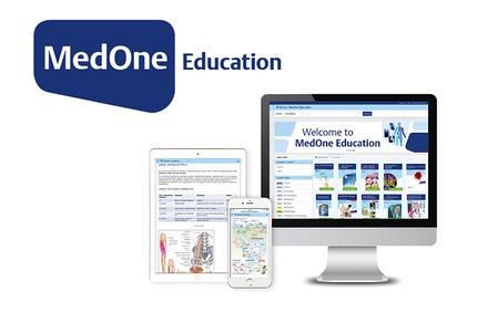 MedOne Education logo med illustrasjon av skjerm, nettbrett og smarttelefon som viser nettsiden