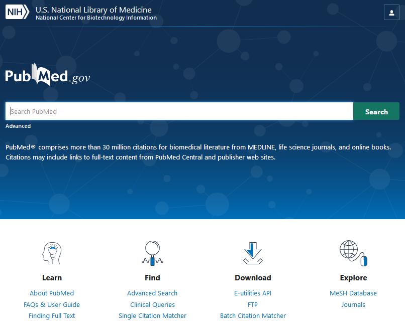 Skjermdump av startside på nye PubMed