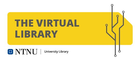 The Virtual Library banner with logo node elements and yellow card background