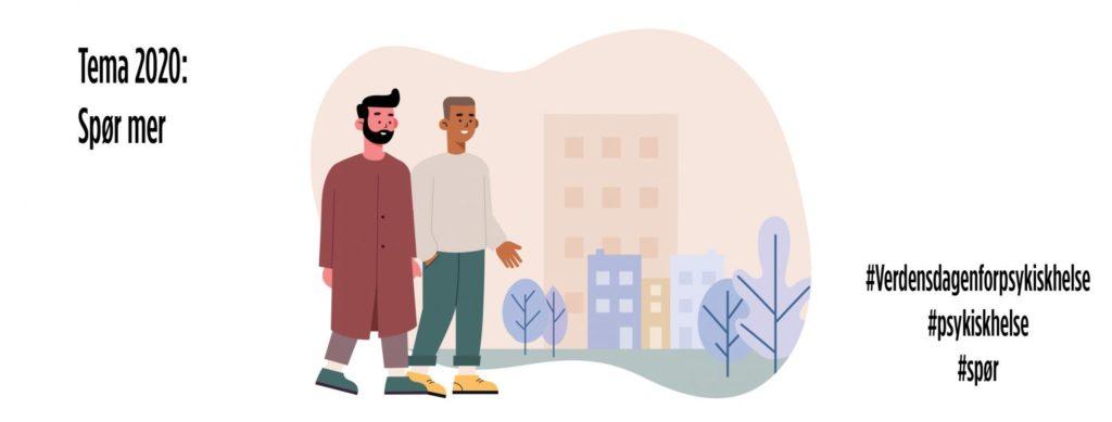 Illustrasjon med to menn som går sammen i by og teksten Spør mer