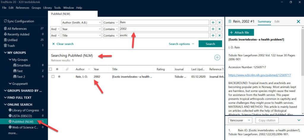 EndNote 20 har et forbedret online søk i databaser fra EndNote (f.eks. søk i PubMed fra EndNote).