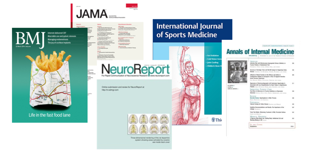 Collage with front pages from some of the mentioned journals