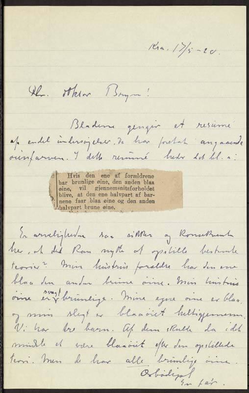 Bilde av et håndskrevet brev