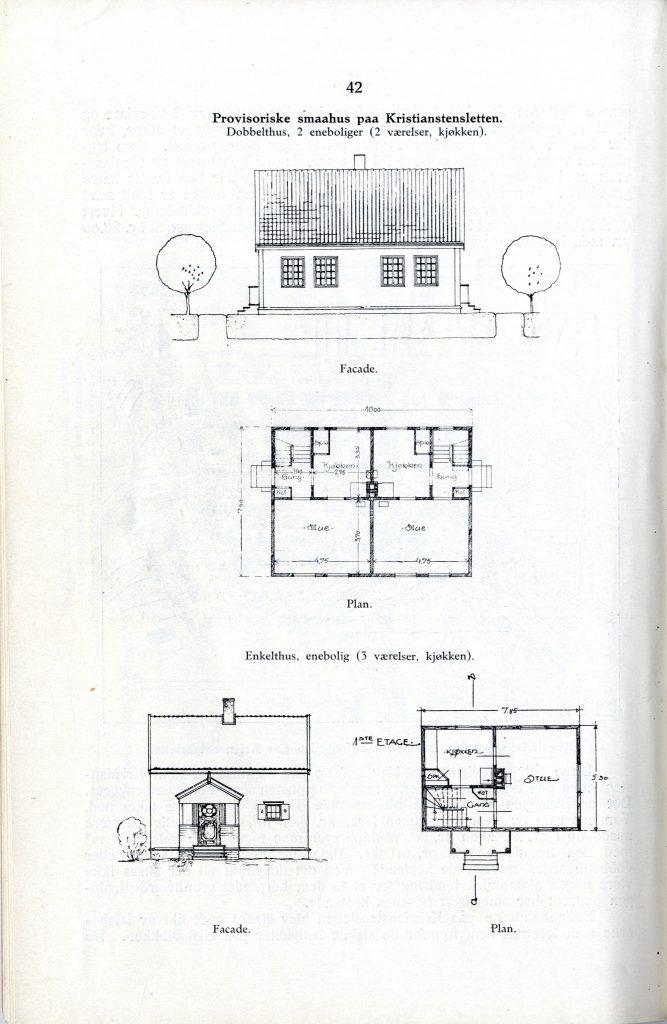 """Fasade og planskisse for dobbelthus og enkelthus, fra «Boligsaken i Trondhjems kommune til og med aar 1917""""."""