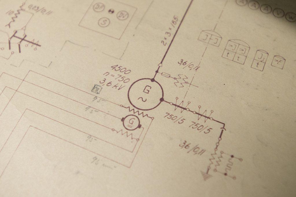 Teknisk tegning av et kraftverk
