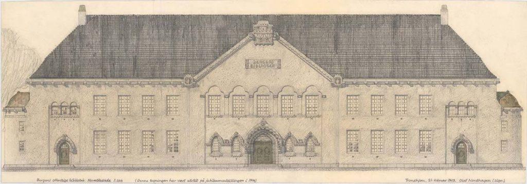 Skisse av Bergens offentlige bibliotek 1913. NTNU UB, Tek-0014 Olaf Nordhagen.