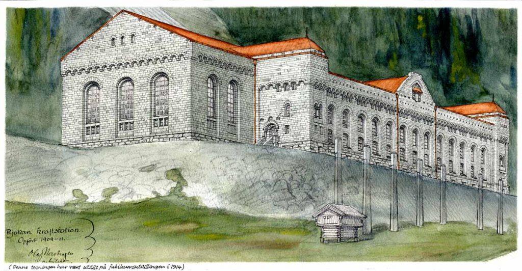 Olaf Nordhagens tegning av Rjukan kraftstasjon, oppført 1909-1911. NTNU UB, Tek-0014 Olaf Nordhagen.