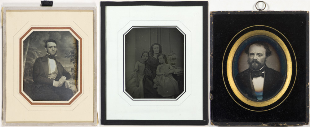 Three framed daguerreotype portraits with different framing